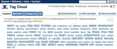 Tag cloud in Confluence
